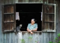 An orang asli Semai woman shooting the b...