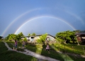 A beautiful rainbow appears in the villa...