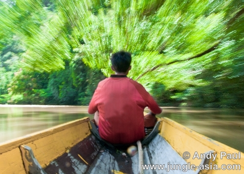 A Penan traveling down Ba' Akah river. F...