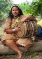 Pinta Unyan of the Mah Meri tribe plays ...