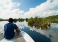 The blue reflective waters of Tasik Bera...